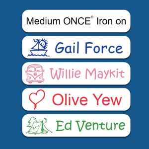 Medium White ONCE® Iron on Name Labels