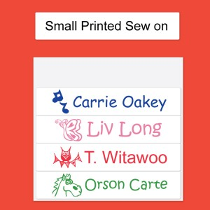 Small White Printed Sew on Name Labels